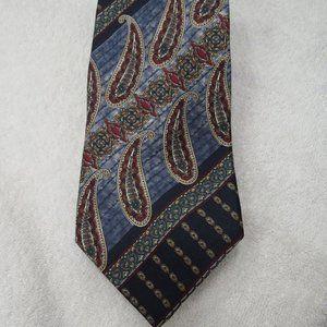 Bill Blass Tie Silk Paisley Necktie Red White Blue
